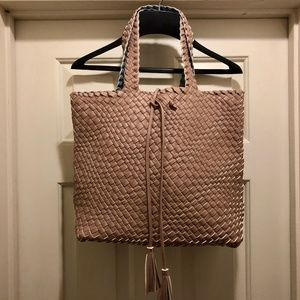 Handbags - Stunning Soft Woven Reversible Tote | Slate Pink |